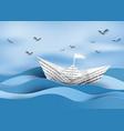 Paper sailing boat vector image