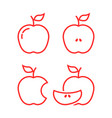 set of red linear apples vector image