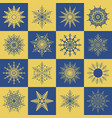 set of snowflakes vintage vector image