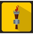 Torch with burning fire icon flat style vector image