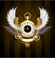 Gold Watch with White Wings vector image vector image