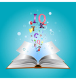 Opened book with letters2 vector image vector image