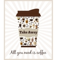 Take-out or takeaway coffee poster vector image