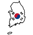 Map in colors of South Korea vector image vector image