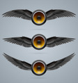 Three two-winged music speakers vector image