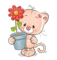 Kitten with flower vector image