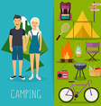 Camping and outdoor recreation flat design vector image
