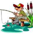 cartoon fisherman with a fishing pole sitting vector image