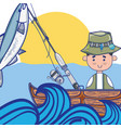 fishing rod with hook and nylon to catch seafood vector image