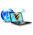 Internet Globe and Laptop protection vector image