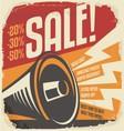 Retro sale poster design concept vector image