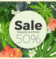 summer sale on circle background with tropical vector image