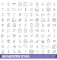 100 medicine icons set outline style vector image
