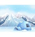 Scene with igloo on snow ground vector image