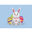 White bunny with Easter eggs vector image