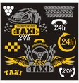 Taxi symbols and elements for taxi emblem - set vector image vector image