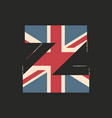 capital 3d letter z with uk flag texture isolated vector image