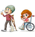 people with broken legs vector image