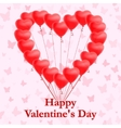 Red heart shaped balloons on pink background vector image