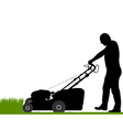 Man with lawn-mower vector image