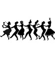 Conga dance silhouette vector image
