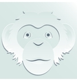 Monkey head carved out of paper vector image