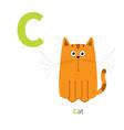 Letter C Cat orange English abc with animals Zoo vector image