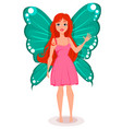 fairy with butterfly wings beautiful redhead vector image