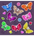 Funny cartoon butterflies stickers set vector image