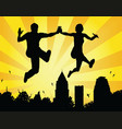 leaping couple vector image
