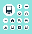 shipment icons set collection of cab omnibus vector image