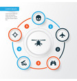 warfare icons set collection of glass aircraft vector image
