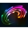 Rainbow colors shining neon lights twirl vector image vector image