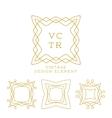 set of outline emblems and badges vector image vector image