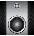 Big speaker on brushed metallic background vector image vector image