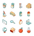 Education and school isometric 3d icons vector image vector image