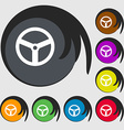 Steering wheel icon sign Symbols on eight colored vector image