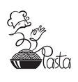 chef icons with dish of pasta vector image