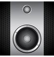 Big speaker on brushed metallic background vector image