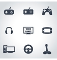 black video games icon set vector image