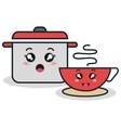 cartoon pot and cup red facial expression isolated vector image