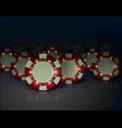 casino poker chips with luminous lights vector image