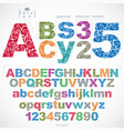 floral alphabet sans serif letters and numbers vector image