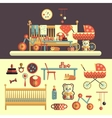 Interior of baby room and toys set for kids vector image