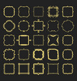set of golden different styles emblems and frames vector image