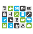 Silhouette Kitchenware objects and equipment icons vector image