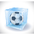 Ice cube with soccer ball Vector Image