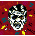 Retro hater man with angry face swearing vector image