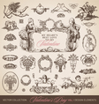 antique valentines set vector image vector image