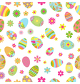 Seamless pattern of flowers and Easter eggs vector image